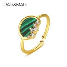 PAG & MAG – bagues en argent Sterling 925, bijoux fins, Bague de mariage en Malachite plaqué or 18K pour femmes, bague en argent massif 925