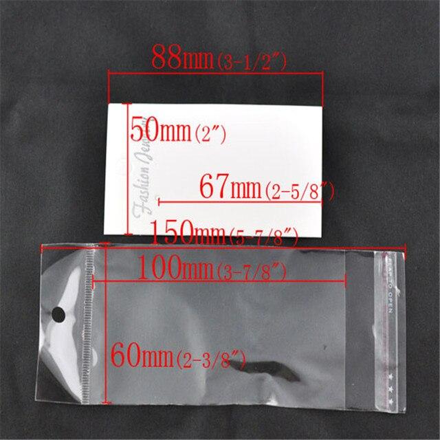 100 ensembles Doreen Box boucles doreilles chaudes cartes daffichage avec sacs auto-adhésifs papier plastique blanc pour emballage boucles doreilles bijoux (B09344)
