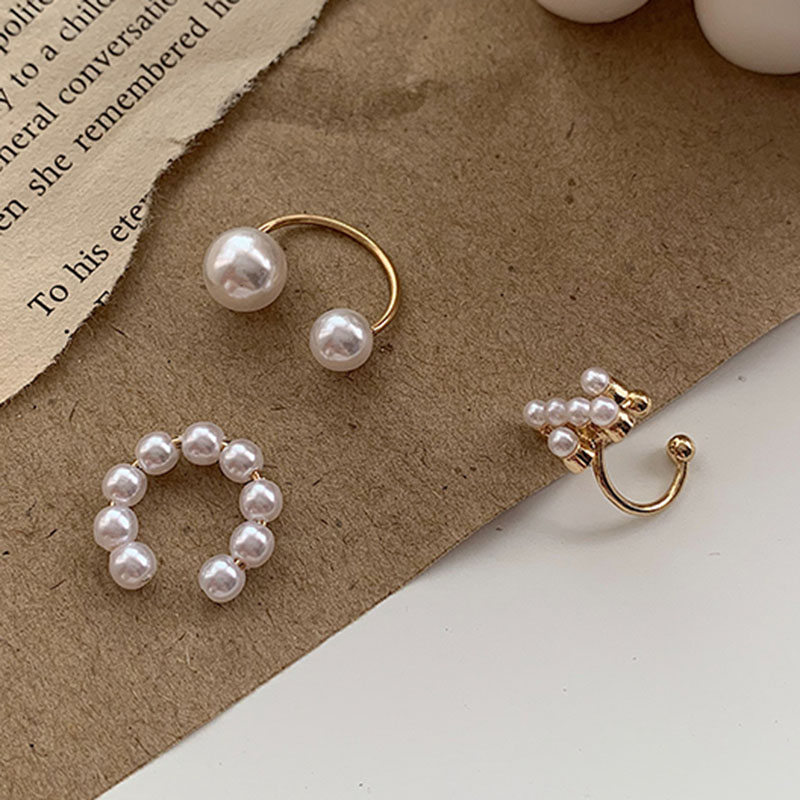 Cross-Clip-Earrings Clips Pearl-Ear-Cuff Piercing Minimalist 3pcs/Sets Jewelry Elegant