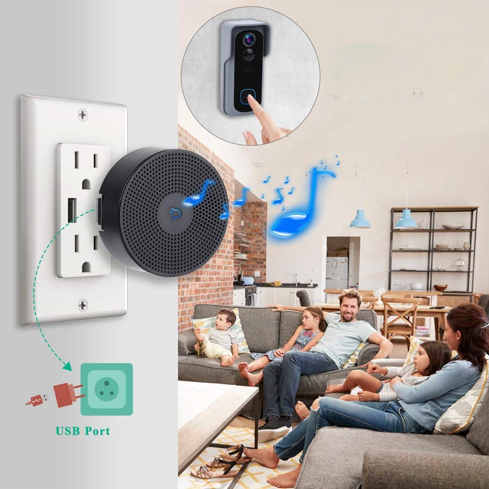 Onvian 4 Ringtons Wireless Door Chime Alarm USB Charging Indoor Chime Work With Onvian Doorbell
