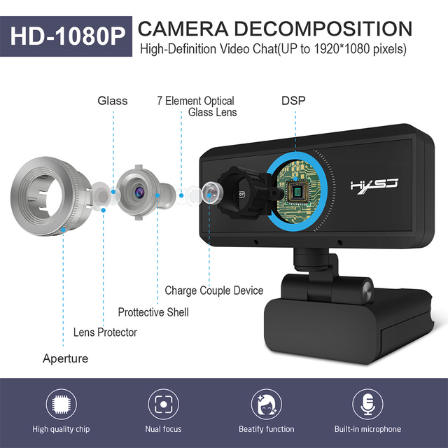 Webcam 1080P 30FPS Full HD Streaming Video Anchor USB Web Camera Built-in Stereo Microphone With Tripod for PC Computer 4