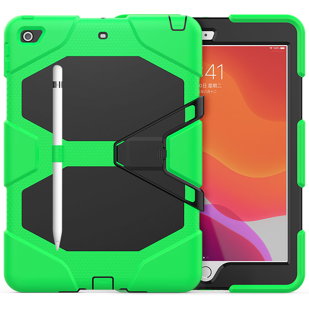 Green Green For iPad 10 2 Case Heavy Duty PC Silicone Rugged Armor Kids Shockproof Kickstand Case for