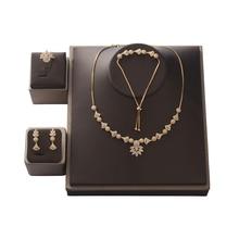 Choker Jewelry Set HADIYANA Flower Shape Women Wedding Party Necklace Earrings Ring And Bracelet Set Zircon CNY0088 Bisuteria