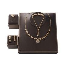 Ensemble de bijoux en forme de fleur HADIYANA, ras du cou, collier, boucles doreilles et Bracelet en Zircon, pour femmes, CNY0088, fête de mariage