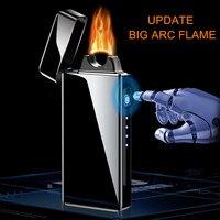 Isqueiro eletrônico recarregável por usb  isqueiro com grande chama e duplo arco resistente ao vento  sem chama e de plasma  para o dia do pai  2020