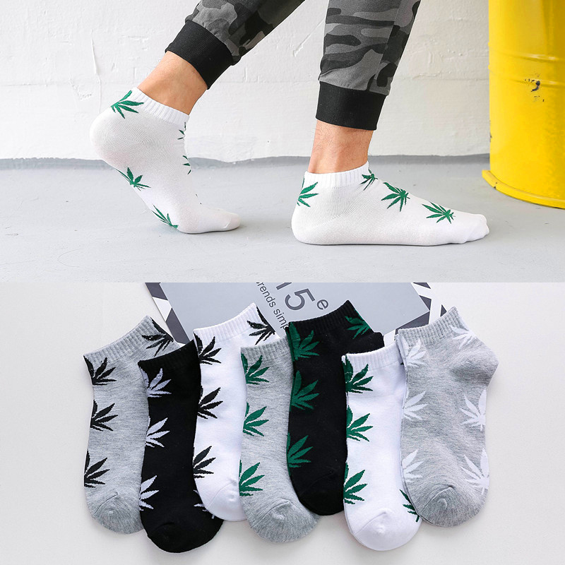 5Pairs Classic Shallow Mouth Breathable Socks Male Skateboard Spring Summer Maple Leaf Socks Ankle Man Tube Non-Slip Short Socks
