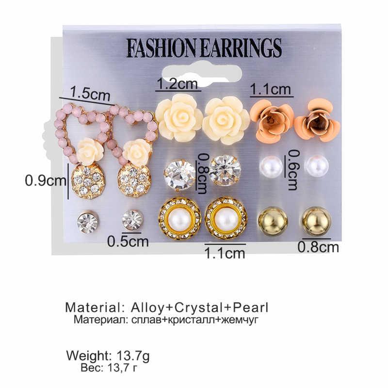 Leuke Roze Bloem Oorbellen Voor Vrouwen Meisjes Elegante Parel Kristal Hars Studs Oorbellen Rose Bloem Hart Oor Sieraden Mix Groothandel