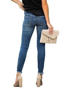 Image 4 - ใหม่กลางเอวกางเกงยีนส์Skinnyผู้หญิงVintage Distressed Denimกางเกงหลุมทำลายดินสอกางเกงขายาวกางเกงสบายๆฤดูร้อนRippedกางเกงยีนส์