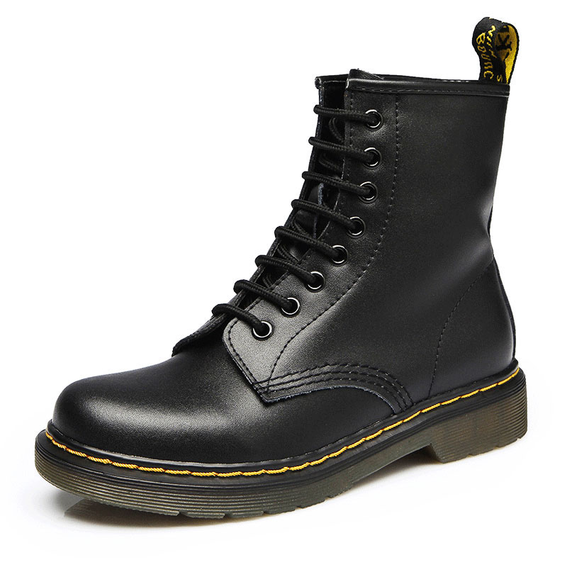 Genuine Leather Men Boots Winter Shoes Short Plush Ankle Boots Men Shoes For Martin Boots Black Plus Size 45 46