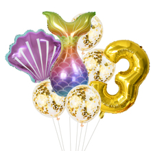 7pcs/lot Gold 32inch Number Foil Balloon Mermaid Party Balloons For Baby Shower Kids Birthday Decoration Supplies