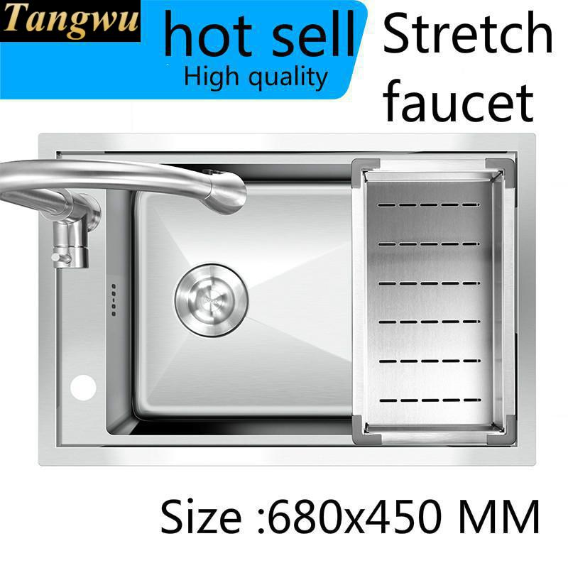Free Shipping Standard Stretch Faucet Luxury Kitchen Manual Sink Single Trough Food-grade Stainless Steel Hot Sell 680x450 MM