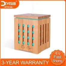 Difusores ultrassônicos da aromaterapia do difusor do óleo essencial de bambu de devisib 200ml com 7 luzes coloridas do diodo emissor de luz e fechado automático sem água