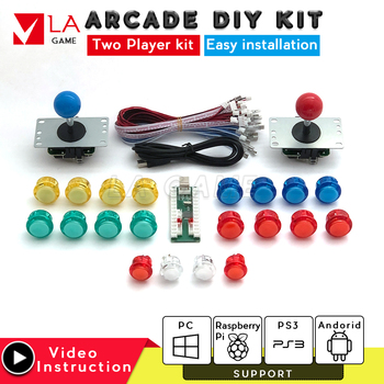 2 player  diy kit controle arcade usb encoder to PC Rasberry PI sanwa joystick arcade cabinet for mame jamma project one player arcade game diy parts kit usb encoder pc joystick retro game diy kit for raspberry pi 3 retropie