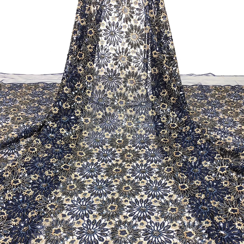 Latest African Lace Fabric 2020 Pretty Flower Embroidered With Sequins Best Tulle French Lace Fabric For Women Evening Dress