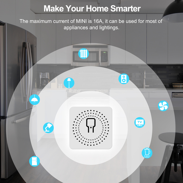 16A Mini Smart Wifi DIY Switch Supports 2 Way Control, Smart Home Automation Module, Works with Alexa Google Home Smart Life App 6