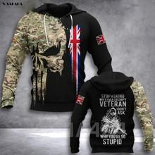 Czaszka żołnierz armia weteran flaga 3D drukowane bluza z kapturem mężczyzna kobieta sweter z zamkiem błyskawicznym bluza z kapturem Jersey Streetwear dresy tanie tanio X-SAFALA Wiosna i jesień Na co dzień Daily CN (pochodzenie) Pełne POLIESTER spandex Drukuj REGULAR Z okrągłym kołnierzykiem