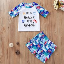 Kid Kid Swimwear Two-Piece Long Sleeve Shorts Boys Beach Tropical Flowers Print T-Shirt Swimsuit Swimming Pants 1-5T(China)