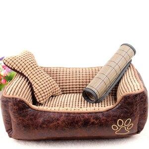 2019 кровать для домашних животных XL соломенный коврик подушка матрас Съемный Коврик для собак кровать для домашних животных флис маленький ...