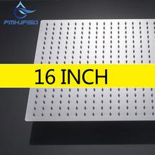 Большая квадратная насадка для душа, 16-дюймовая душевая лейка высокого давления из нержавеющей стали с полированным хромированным покрыти...