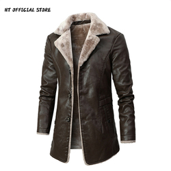 PU Leather Jacket Men Long Style Solid Men's Streetwear Fleece Casual Mens Clothing Porckets Breasted Leather Coat Outwear
