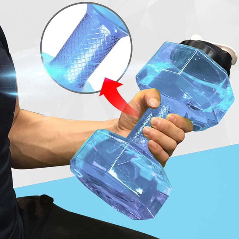 2.5L большой Кепки агород Спортивная бутылка для воды форма гантели Портативный Спортивная Фитнес PETG пуш-ап Кепки чайник для воды с ручкой