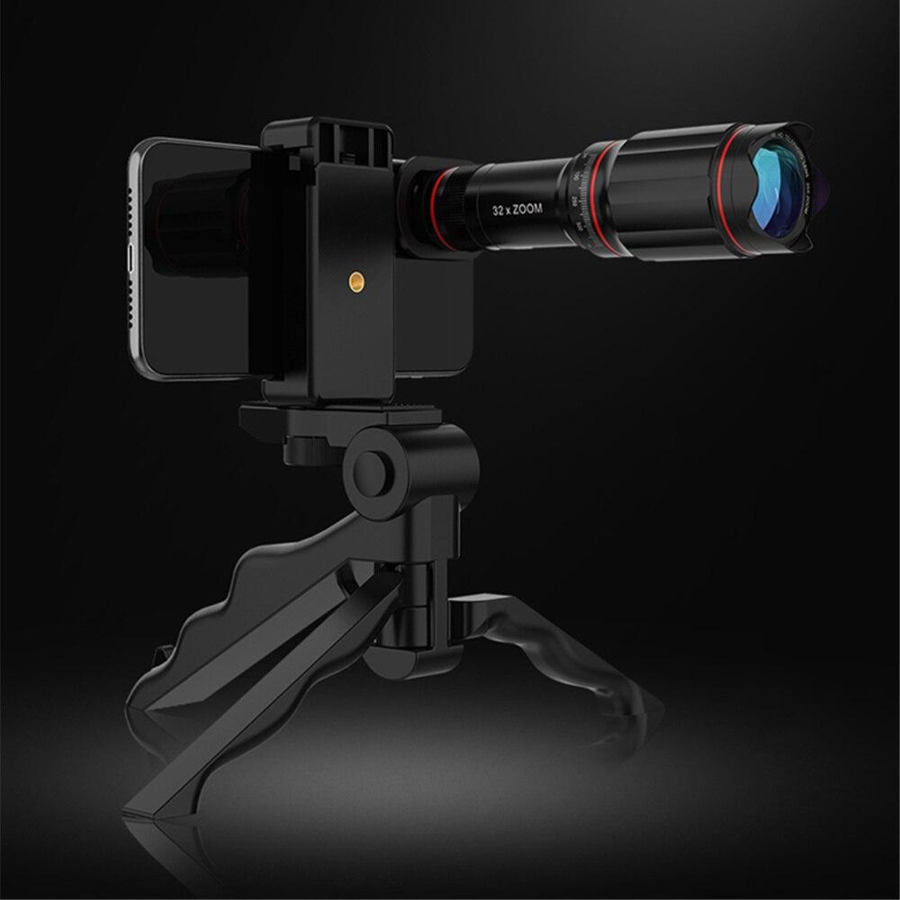 Universal Black 4K 32X Zoom Mobile Phone Telescope Lens Telephoto External Smartphone Camera Lens for Phone