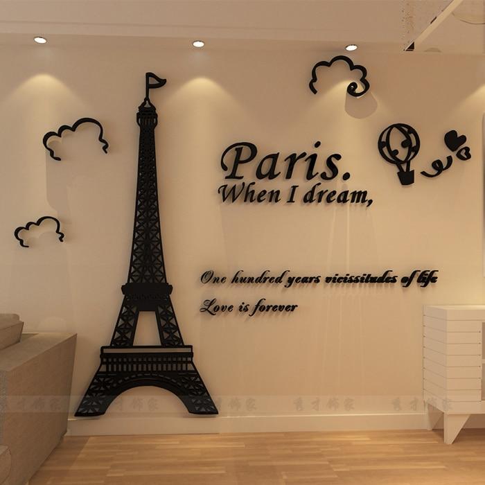 Bricolage 3D acrylique tour Eiffel mur autocollant caractère citation autocollant pour la décoration du salon
