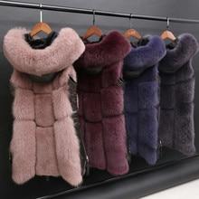 2020 autumn and winter new Korean version of imitation fox fur stitching hooded fur vest jacket women