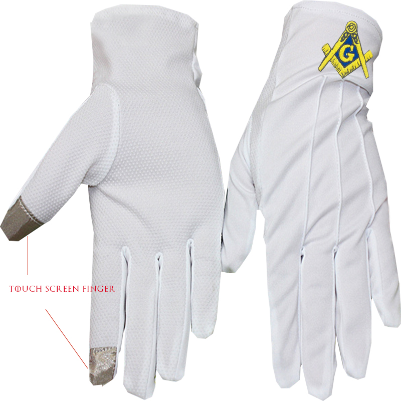 Golden Square And Compass Freemasonry Embroidery, Dot Plastic Anti-slip, Touch Screen, Polyester Gloves-[White]
