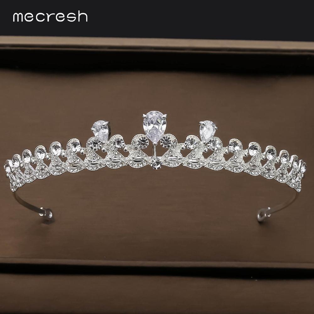 Mecresh Simple Heart Cubic Zirconia Tiaras and Crowns Princess Wedding Hair Accessories Women Bride Pageant Diadem HG249