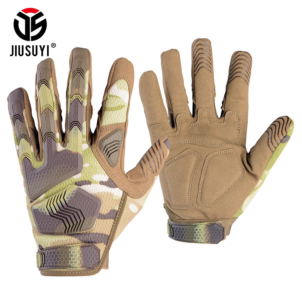 Multicam Tactical Military Men Gloves Camouflage Paintball Shoot Rubber Knukcle Protective Anti-Skid Full Finger Glove Mittens