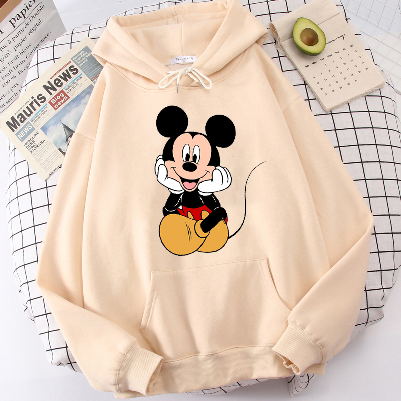 Disney Women Hoodies Minnie Mickey Mouse Hoodies Cartoon Tops Long Sleeve Pockets Sweatshirts Fashion Hooded Women 7