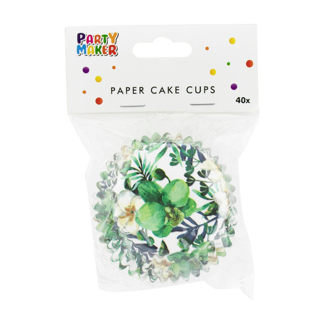 Green Floral Printed Cupcakes Baking Bowl Set 40 Pcs