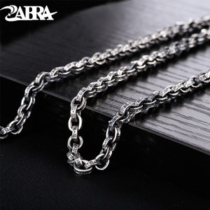 Image 1 - ZABRA Buddhism Mantra Signet 925 Sterling Silver Necklace Men Width 5mm 50/55/60/65/70cm Long Box Chain Biker Jewellery