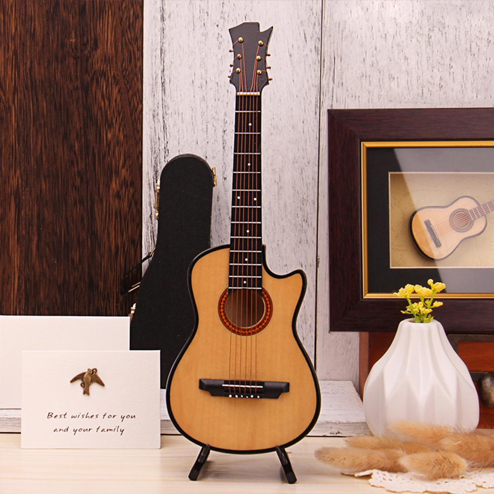 Hot Mini Missing Angle Folk Guitar Miniature Model Wooden Mini Musical Instrument Model Collection with Case Stand