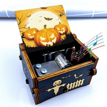 New product hand-cranked music box wooden painted Halloween night thriller Christmas, Years Day gift