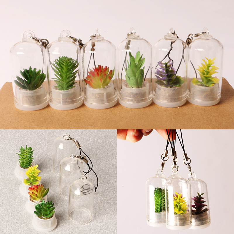 Брелок для ключей с имитацией суккулентов, мини-брелок бонсай с подвеской для телефона с зелеными растениями, с микро ландшафтом, строитель...