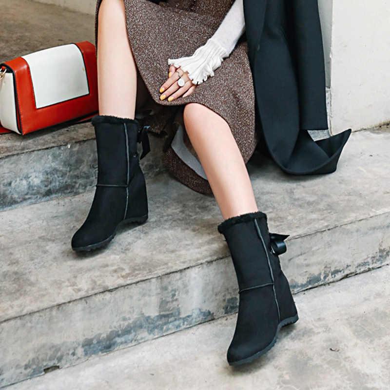 Rimocy flock ซ่อนส้นรองเท้าบู๊ทหิมะอบอุ่น plush ฤดูหนาวรองเท้าผู้หญิง elegant riband ลูกไม้ botas mujer สีดำ beige ข้อเท้ารองเท้า