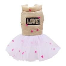 Теплая одежда для домашних животных; сезон осень-зима; модное платье для девочек с надписью «LOVE» и сердечками; высококачественная одежда для детей
