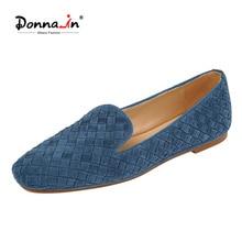 Donna-in 2021 Neue Blau Natürliche Wildleder Weben Penny Loafers Luxus Qualität Handgemachte Handwerk Karree Designer Schuhe Weibliche denim