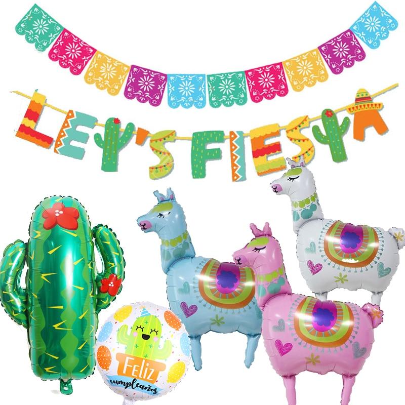 Fiesta Party Decorations Mexican Party Supplies Colorful Alpaca Cactus Fiesta Balloon Banner Cactus Foil Balloons Bachelorette