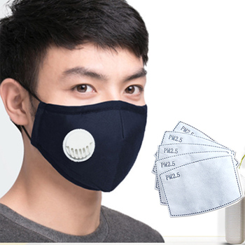 Resuable Black Face Mask Washable Mask with pm 2.5 filter Anti dust proof Flu Facemask 1pcs Dust Mask + 5Pcs PM2.5 Filter paper