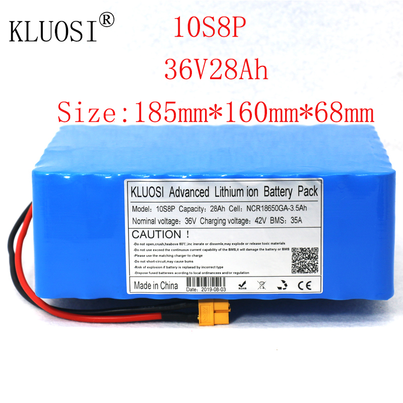 KLUOSI 36V Battery 10S8P 28Ah for NCR18650GA with 35A Balance BMS 42V Li-Ion Battery Pack Ebike Electric Bicycle Motor Scooter image