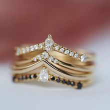 Creative Multilayer Geometric Zircon Ring For Women Couples Gold Female Engagement Wedding Jewelry 2019 New