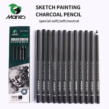 Marie's 12Pcs Charcoal Pencil For Sketch Painting Pencils Drawing Lapiz Set Stationery School Art Supplies Pencils for Students professional 12pcs white sketch charcoal pencils standard pencil drawing pencils set for school tool painting art supplies