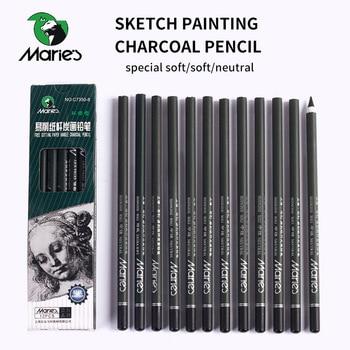 цена на Marie's 12Pcs Charcoal Pencil For Sketch Painting Pencils Drawing Lapiz Set Stationery School Art Supplies Pencils for Students
