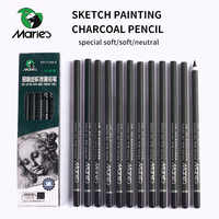 Marie's 12Pcs Charcoal Pencil For Sketch Painting Pencils Drawing Lapiz Set Stationery School Art Supplies Pencils for Students