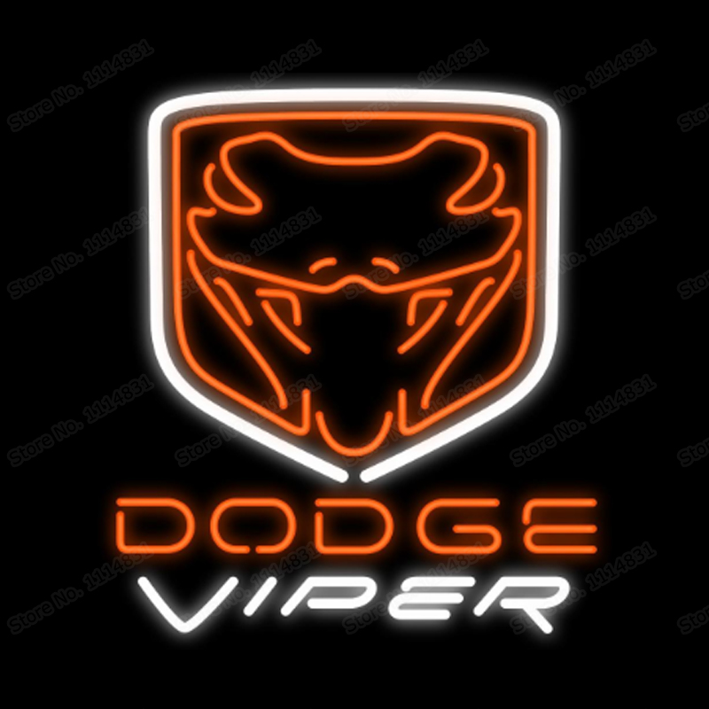 Doge Viper Racing Car Neon Sign Handmade Real Glass Tube Game Sport Bar Store Shop Advertise Company Display Neon Signs 20X24 image