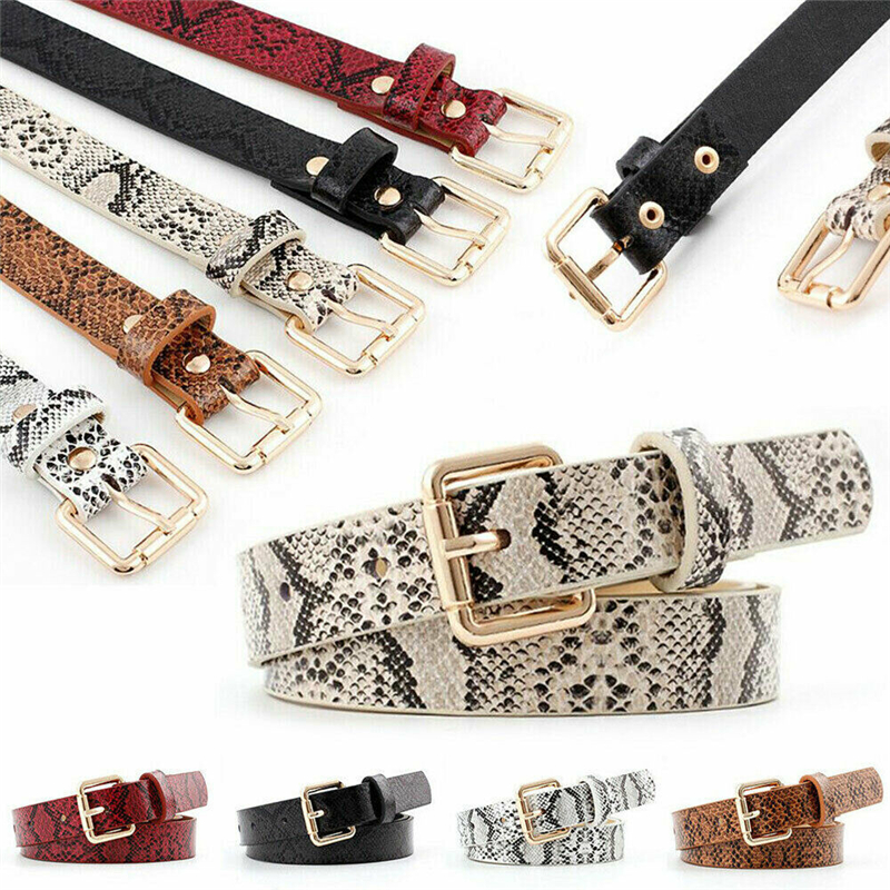 Brand New Snake Skin Print Belts For Women Gold Square Pin Buckle Waistband PU Leather Belt Women Snake Pattern Dress Jeans Belt