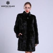 2018 新スタイルのファッションナチュラル mlnk スタンド襟良質 mlnk 毛皮のコートの女性の自然な黒コート mlnk